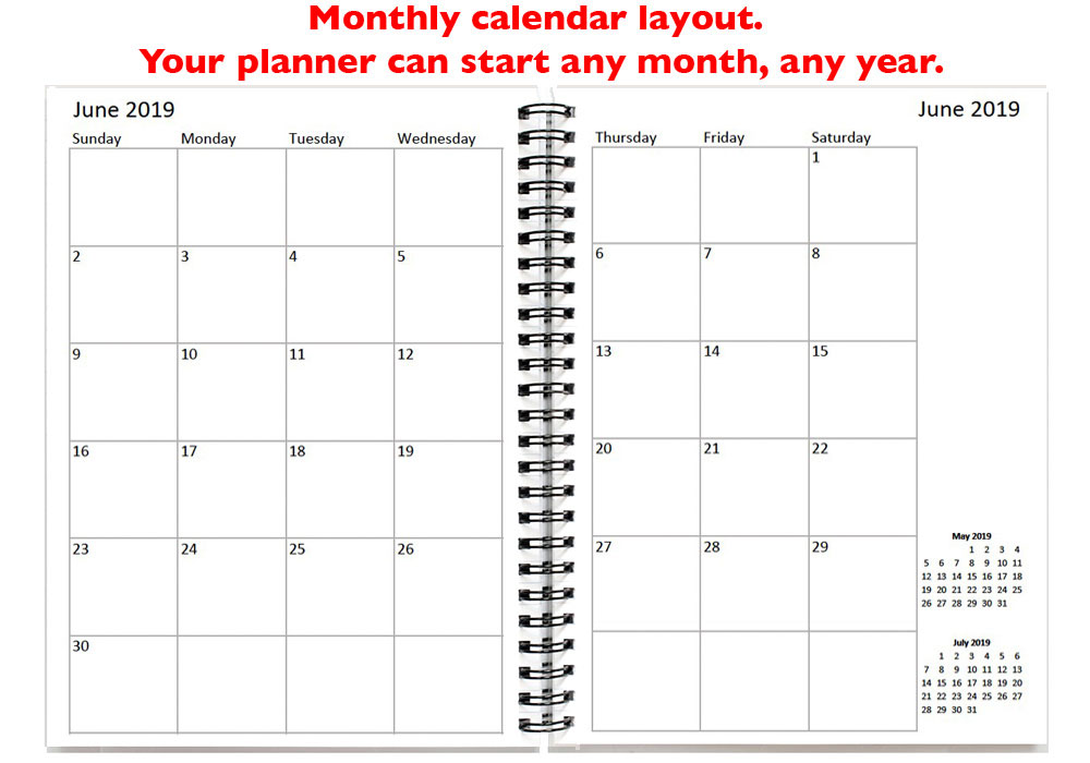 monthly planner, personalized calendar notebook