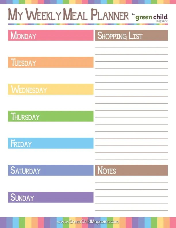 Weekly Meal Planner {Free Printable} - weekly dinner planner with grocery list