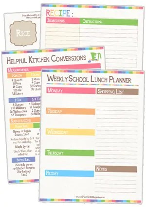 Meal Planning  Pantry Organization {free printable} - basic meal planner