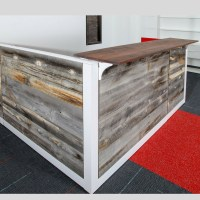 Barn Wood Reception Desk Green Clean Designs Front Office Desk