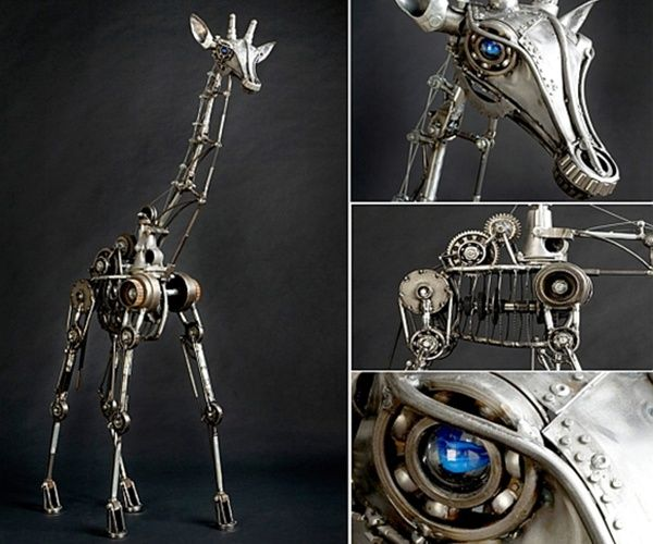 Animal sculptures from recycled materials
