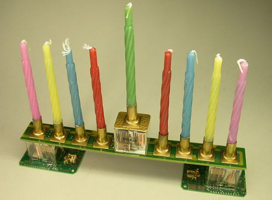 recycled circuit board hannukah menorah geekery 1