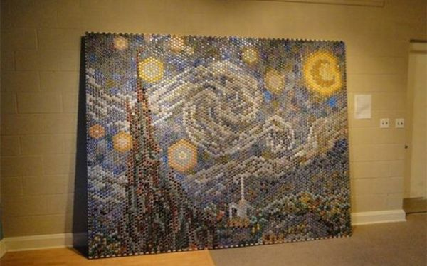 van goghs starry night made from 8000 bottle caps