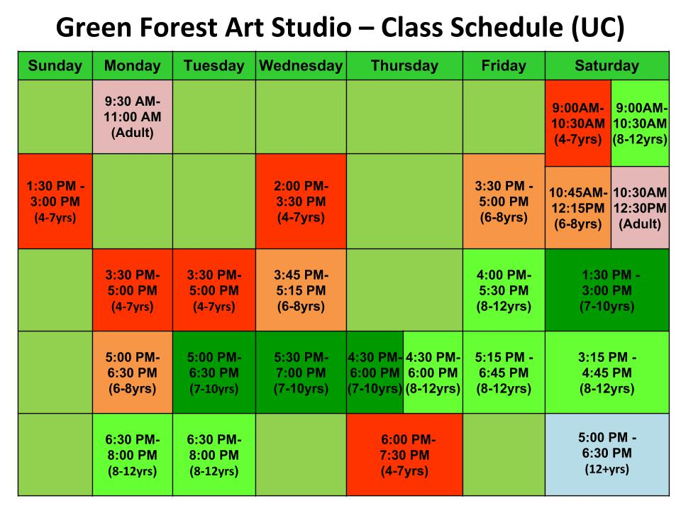Class Schedule Green Forest Art Studio