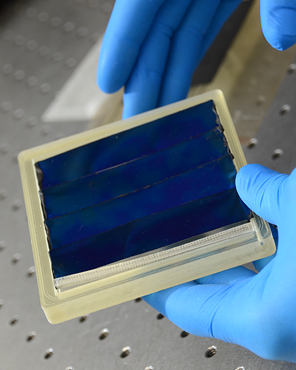 This prototype from the Joint Center for Artificial Photosynthesis Innovation Hub uses energy from sunlight to isolate hydrogen from water Artificial Photosynthesis Research Survives Through Innovation Hub Strategy