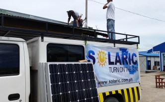 Truck of Solaric Philippines installation team in Tacloban City, Philippines