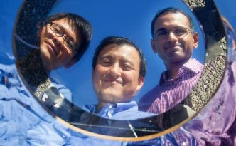 Stanford School of  engineering graduate students Linxiano Zhu, Shanhui Fan, a Professor of Electrical Engineering  and grad student Aaswath Raman on Friday, October 10, 2014.  ( Norbert von der Groeben )