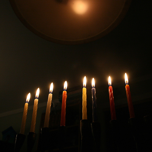 hanukkah-lights green eco rabbi