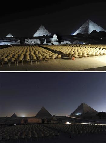 Lights Out for the Sphinx and Pyramids On Earth Hour in Egypt