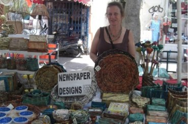 "Tel Aviv's Artists' Market Offers Good Green ""News"" On Desy's Newspaper Designs"