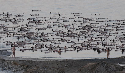 1000 Naked Israelis Strip to Save the Dead Sea