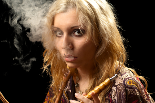 hookah pipe smoking woman