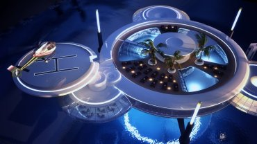 Luxury Underwater Discus Hotel Close to Anchoring in the Gulf