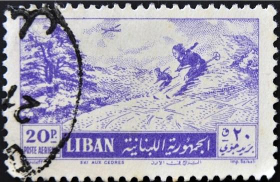 ski lebanon, liban ski, stamp
