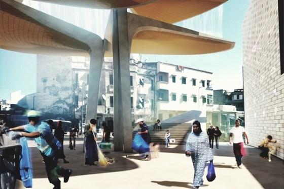 casablanca, morocco, sustainable market square, TomDavid Architecten, souq, green design, rainwater harvesting, waste management