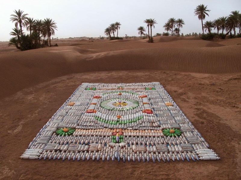 Dazzling Carpet of Plastic Bottles Adorns the Moroccan Desert