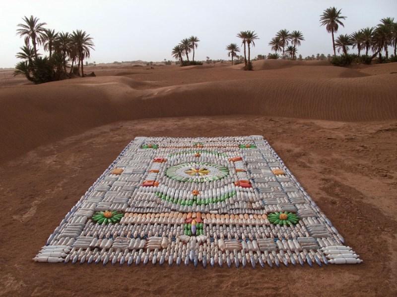 Dazzling Carpet of Plastic Bottles Adorns the Moroccan Desert