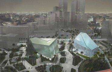 Moving Titanium Facade Dapples Sunlight at Luxury Saudi Spas