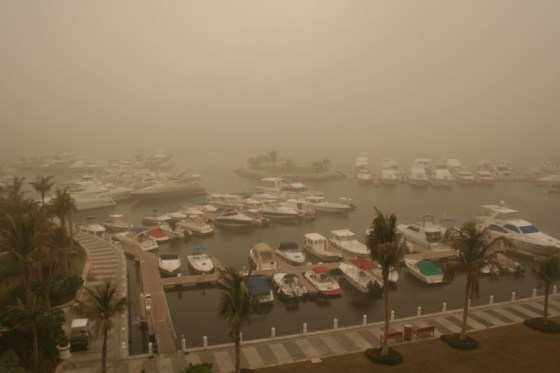 Dust Storm in Dubai harbor