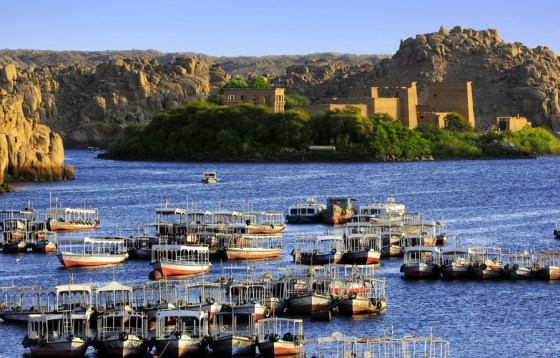 Egypt. Agilkia Island (or Agilika Island) in Lake Nasser. Philae Temple of Isis seen from the Aswan Low Dam