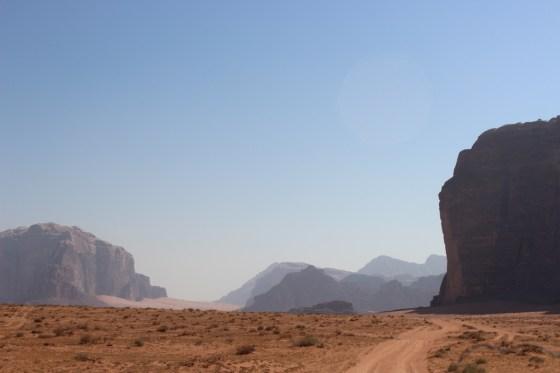 Distant Towers Jordan Red Desert wadi rum