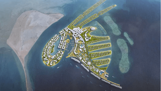 Oryx Island, Qatar World Cup, artificial island, Doha development, temporary floating island in Qatar, Electric Vehicles, pedestrian-only island