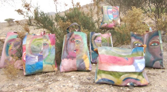 Safi face bags, Jean Bradbury in Safi, Dead Sea jordan