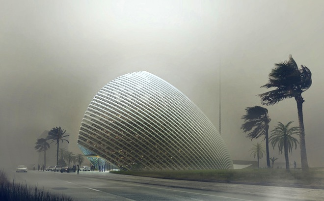 Aerodynamic ARPT Headquarters Diverts Algiers' Hot Desert Winds Naturally