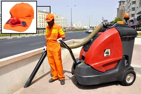 Dubai Municipality, ramadan workers, migrant workers UAE, workers rights UAE, Middle East summer workers, solar-powered cooling hats, hats that cool the head