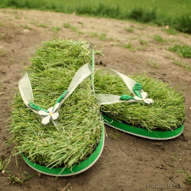 green grass slippers