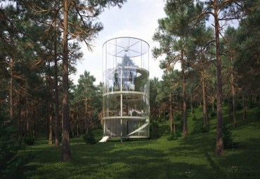 Glass Tube Home Wraps Around a Tree in Earthquake-Prone Kazakhstan
