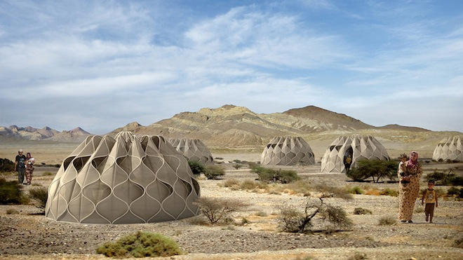 refugee housing, temporary shelter, humanitarian design, refugee shelters, homes for refugees, abeer seikaly, jordanian architect, desert home, nomad home, woven shelter, collapsible woven shelter