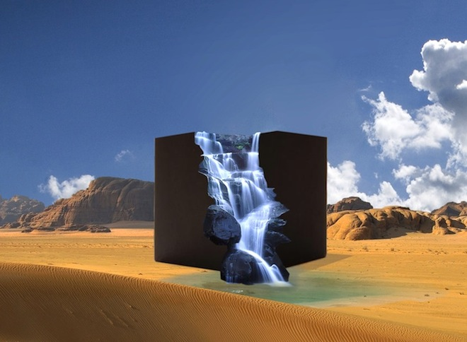 Solar-Powered 'Desert Cascades' Cube Gushes Water in the Desert