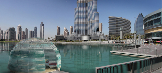 Floating Majlis meeting rooms made of recycled fishing nets in Dubai