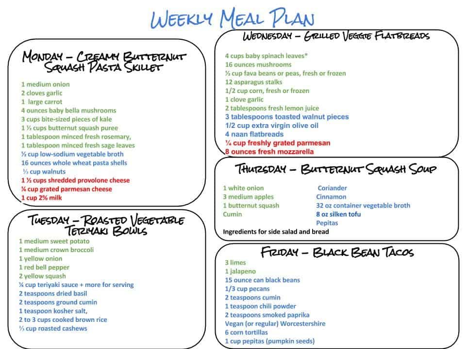 Healthy Weekly Meal Plan - 92615 - Cook Nourish Bliss