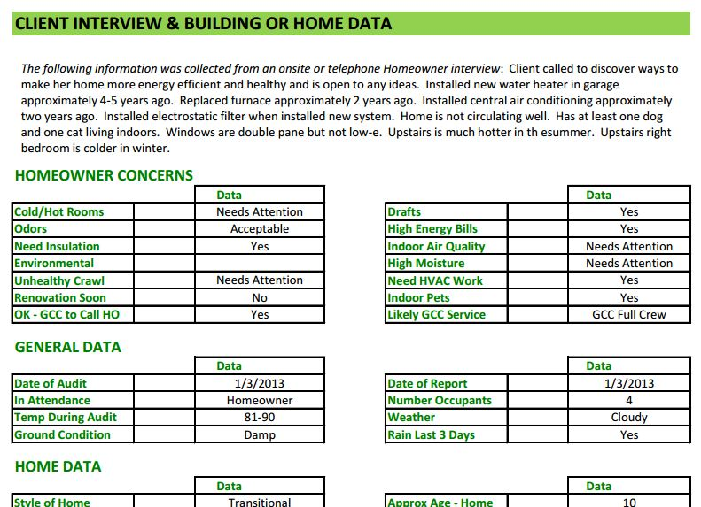 Energy Audit Software Home Energy Auditors Training - audit template sample