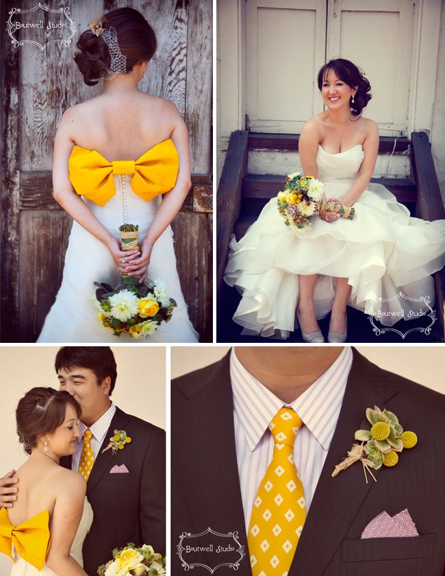 Wedding dress love a giant yellow bow green wedding shoes wedding