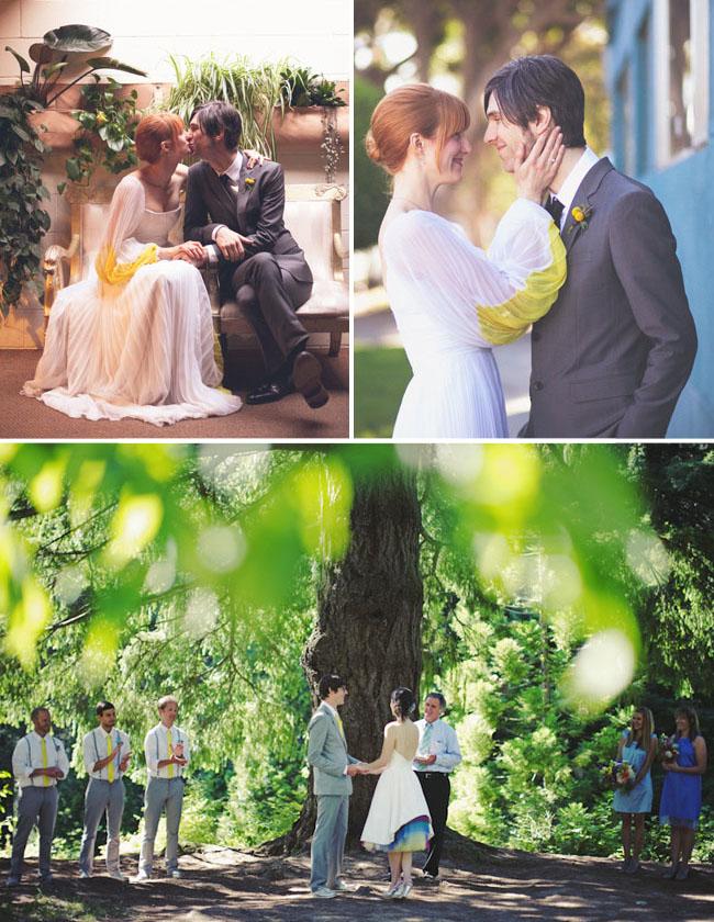 Wedding dress rainbow tulle