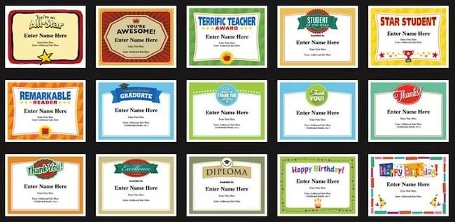 Student Certificates Templates Teacher Awards for Classroom