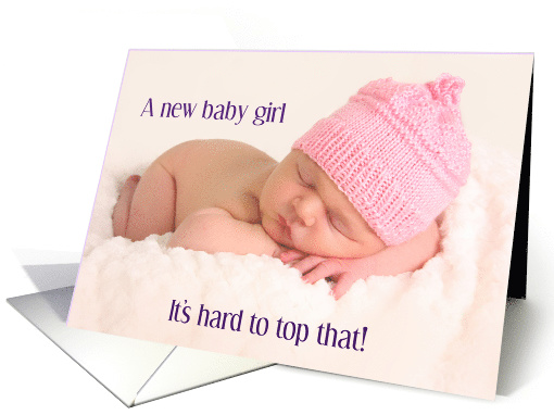 Baby girl congratulations, cute sleeping baby in pink hat, card