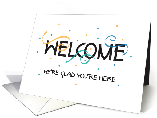 Business New Employee Welcome, with Streamers and Confetti card