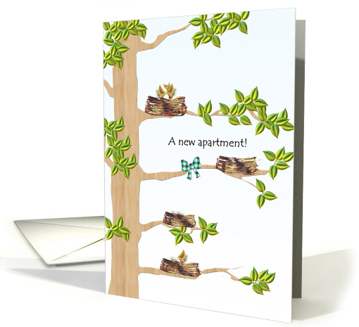 Congratulations, new apartment, birds\u0027 nests on branches card (921364)
