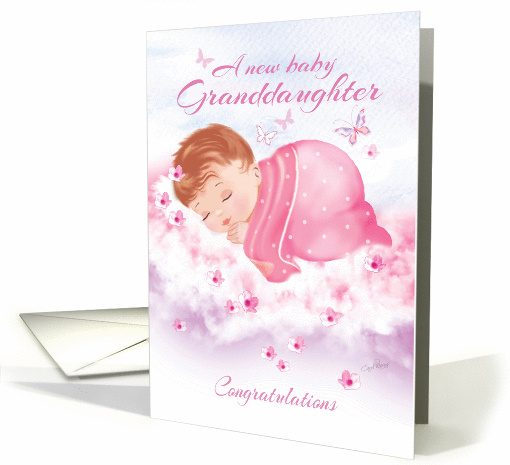 Congratulations, New Granddaughter - Baby Girl Asleep on Clouds card