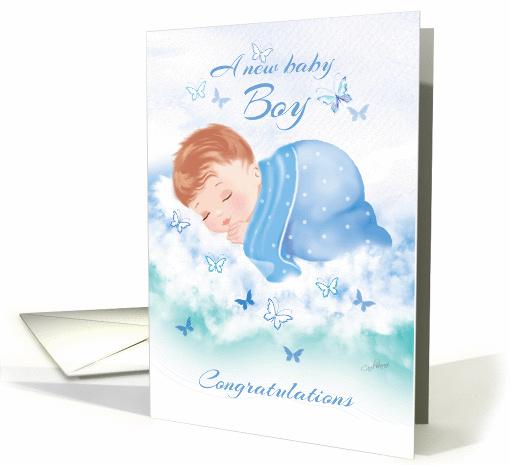 Congratulations, New Baby Boy - Baby Boy Asleep on Clouds card