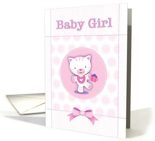 Cute Pink Kitten New Baby Girl Congratulations card (1512480)