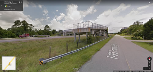 Google Maps Street View of the Juanita M. White Crosswalk from Stellars Jay Road, the I-95 Frontage Road - Juanita M. White Crosswalk Over I-95 in South Carolina