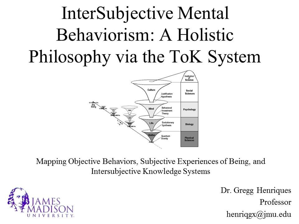InterSubjective Mental Behaviorism - Gregg Henriques