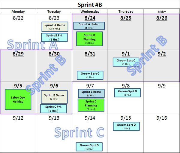 Simple Sprint Calendars GregMester