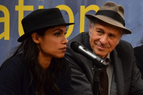 Rosario Dawson and Greg Palast