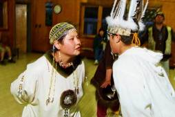 Native dancers, Nanwalek, Prince William Sound, Alaska, center of spill damage.